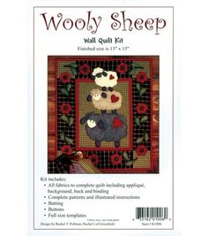 Three sheep, each wearing a heart on its rump, stack up to make this pile of wool.  The fluffy sheep and bright flower appliques are easy-to-use woolfelt, applied to homespun cotton checks.  Kit inclu