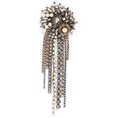 Erickson Beamon 'Hunger' 24k gold plated Swarovski crystal fringe... ($730) ❤ liked on Polyvore featuring jewelry, brooches, metallic, gold plated jewelry, antique pins brooches, antique brooch, 24 karat gold jewelry and fringe jewelry