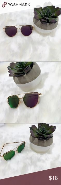 Purple  Gold Mirrored Polarized Cat Eye Sunglasses New, high fashion sunglasses. Polarized mirror purple and green lens with gold wire frame. Listed brand for exposure.  Total frame width:142mm Lens width:57mm Lens height:50mm Leg length:147mm Nose pitch:18mm   -Packaged with care    20% of earnings are donated to the A21 campaign that works toward ending human trafficking in the 21st century  -27 MILLION slaves worldwide- Most in history! -1-2% of victims are ever rescued -The average age…