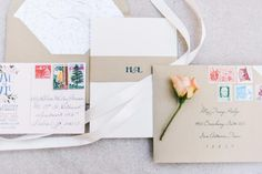Simple Blue and Pink Floral Stationery | Photo: CHRISTINE SARGOLOGOS | http://knot.ly/6492BIQFu