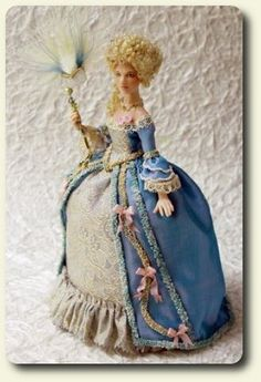 Porcelain doll, dressed for the 1700s by CDHM and IGMA Artisan Elisa Fenoglio