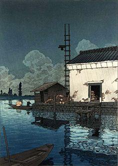 "Japanese Art Print ""Rain at Ushibori"" by Kawase Hasui. Shin Hanga and Art Reproductions http://www.amazon.com/dp/B00Y278GM6/ref=cm_sw_r_pi_dp_rSQvwb09B2D00"