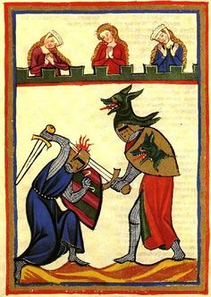 The Codex Manesse, is a Liederhandschrift (medieval songbook), the single most comprehensive source of Middle High German Minnesang poetry, written and illustrated between ca. 1304 when the main part was completed, and ca. 1340 with the addenda. Medieval World, Medieval Knight, Medieval Art, Medieval Fantasy, Medieval Drawings, Medieval Manuscript, Illuminated Manuscript, Renaissance, Medieval Paintings