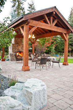 Covered Patio / Pavilion Design & Construction in Spokane & Coeur d'Alene Backyard Covered Patios, Backyard Patio Designs, Backyard Garden Landscape, Large Backyard Landscaping, Pergola Designs, Backyard Bbq, Balcony Garden, Covered Patio Design, Backyard Shade