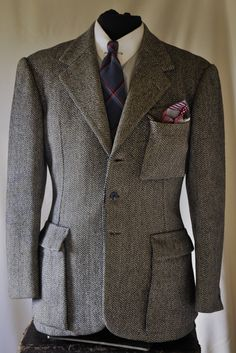 """Some man in Naples walked into Constantino's Tailoring house and asked for the """"Clark Gable special!"""" 1940s Neapolitan tailored Belted back jacket with gathered pleating and 3 bellow patch pockets. Double back vent (If you don't like it, that is what tailors are for) The tailoring is superb with a great hourglass cut."""