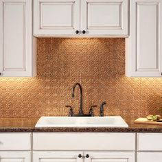 Fasade Traditional Style #6 Cracked Copper 18 in. x 24 in. Backsplash Panel