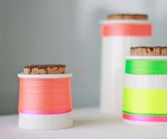 REMAKE   Turn simple storage containers into super fun neon striped vessels for storage desk supplies, jewelry, etc.