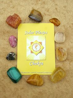 SOLAR PLEXUS CHAKRA CRYSTALS (listed clockwise starting with the upper right hand corner): Amber, Honey Calcite, Citrine, Yellow Fluorite, Yellow Jasper, Malachite, Pyrite, Rhodochrosite, Imperial Topaz, Golden Tiger's Eye.   This is by no means all of the Solar Plexus chakra crystals, but these are among some of my favorites.
