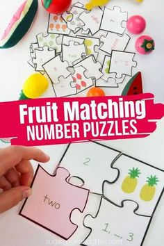 A fun printable math activity for kids, these Fruit-themed Math Puzzles teach counting, one-to-one correspondence, number sequencing, and matching written representations of numbers with visual and numerical representations - but the kids will just think it's fun! Fun Printables For Kids, Math Activities For Kids, Hands On Activities, Infant Activities, Math Games, Preschool Ideas, Number Puzzles, Maths Puzzles, Puzzles For Kids