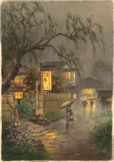 Night Rain Under Willows, by Fukutaro Terauchi (Japanese 1891-?)