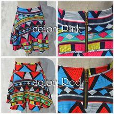 Geometry skirt -color: Pink n Red-