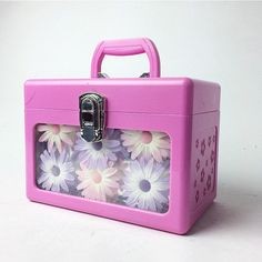 90's Pink and Lavender Daisy Caboodle Train by FeelingVagueVintage
