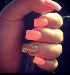 Coral and gold nail art lcn