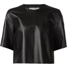 By Malene Birger cropped boxy blouse ($545) ❤ liked on Polyvore featuring tops, blouses, black, crop blouse, black crop top, black top, boxy top and crop top