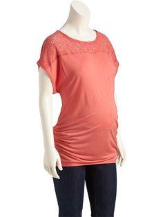 Maternity Lace-Yoke Tops Product Image