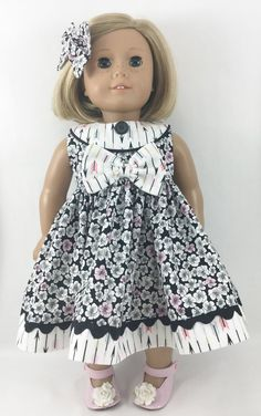 """Doll Dress Fits American Girl and Other 18"""" Dolls Black White and Pink Flowers and Arrows Prints"""