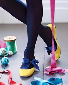 easy and fun way to dress up a pair of flats or heels - just tie a satin ribbon around your foot and tie in a bow ... you could even wrap it around your ankle a few times for the ballerina look