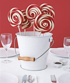 Lollipop bouquet as centerpiece - great for a candy themed party