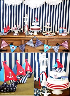 Preppy Nautical Birthday Party with DIY ideas on decorations, printables, food and favors - Great red, white and blue 4th of July or memorial day. #4thofjuly #redwhiteblue #nautical #nauticaldecor #nauticaltablescape Party Icon, Party Kit, Diy Party, Party Ideas, Diy Ideas, Party Favors, Food Ideas, July Birthday, 1st Birthday Parties