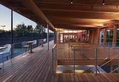 Princeton University Tennis Pavilion | Dattner Architects Princeton Architecture, Stadium Architecture, Pavilion Architecture, Clubhouse Design, Stainless Steel Cable Railing, Pavillion, Pavilion Design, Tennis Center, Architect Magazine