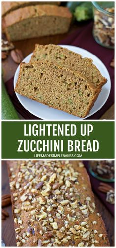 This lightened up zucchini bread is made with wholesome ingredients like coconut oil, unsweetened applesauce and whole wheat flour. Its a slightly healthier version of a summertime favorite. Healthy Zucchini, Zucchini Bread, Buttermilk Cornbread, Unsweetened Applesauce, Dinner Rolls, Bread Recipes, Cake Recipes, Sweet Bread, Food Print