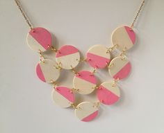 Fabric Paper Glue: Try This: Pink + Wood Bib Necklace Tutorial Wooden Necklace, Diy Necklace, Circle Necklace, Jewelry Crafts, Handmade Jewelry, Paper Jewelry, Jewelry Ideas, Do It Yourself Jewelry, Swarovski Bracelet