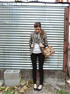 black skinny pants, light grey sweater, brown tweed blazer, black & white houndstooth scarf