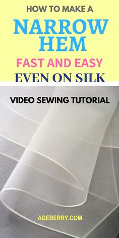 CS - Sewing tutorial on sewing narrow hems on slippery fabrics especially silk charmeuse, chiffon and organza. Learn how to sew rolled hems using a ban roll tape.Fantastic 50 Sewing projects are offered on our internet site. Take a look and you wont be so Sewing Hacks, Sewing Tutorials, Sewing Crafts, Sewing Tips, Sewing Ideas, Sewing Art, Techniques Couture, Sewing Techniques, Learn To Sew