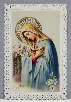 Vintage Lace Paper Holy Card Religious Art by Basevi Blessed Mother, Virgin Mary 17654 by QueeniesCollectibles on Etsy