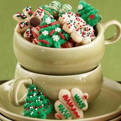 Three-in-One Spritz Cookies - Our delicious recipe makes them tasty and colorful and our Cookie Pro Ultra II Press cuts your favorite seasonal shapes in perfect detail. The perfect size for filling a fun coffee mug for your holiday gifting! Christmas Cookie Exchange, Christmas Sugar Cookies, Holiday Cookies, Holiday Treats, Christmas Treats, Christmas Recipes, Winter Treats, Christmas Goodies, Christmas Desserts