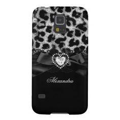 Elegant Classy Silver Black Leopard Heart Jewel Galaxy S5 Cover