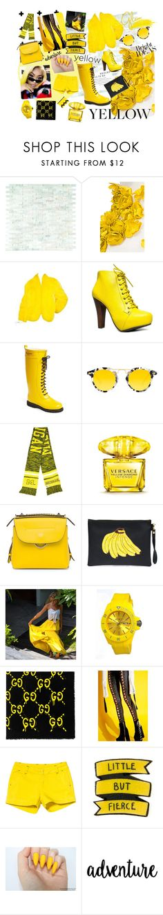 """""""Yellow"""" by miss-sj-xo ❤ liked on Polyvore featuring WALL, Esme Vie, Speed Limit 98, Ilse Jacobsen Hornbaek, Krewe, Forever Collectibles, Versace, Fendi, Tea & Tequila and Jet Set"""