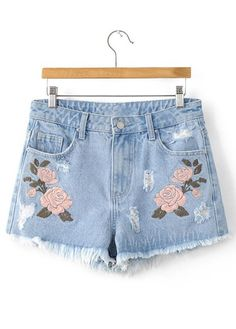 Light Blue Floral Embroidered Frayed Denim Shorts