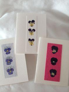 Three Handmade Pressed Viola Cards £9.00