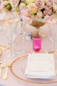 Pink & Gold Wedding Palette featuring a gold rim glass charger plate and gold tone flatware
