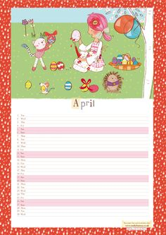 Emily Button calendar download, April 2014. Keep your important dates, parties and special day all on place.