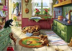 Golden Puppies - Jigsaw Puzzle by Vermont Christmas Company Illustrations, Illustration Art, Arte Country, Cat Pose, Gif Animé, Retro, Contemporary Artists, 1000 Piece Jigsaw Puzzles, Folk Art