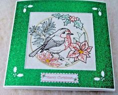 complete embroidered Christmas card Beautiful Robin ex -lge- card | eBay