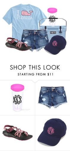 """""""example set- day 4"""" by kendrajc ❤ liked on Polyvore featuring Vineyard Vines, H&M, Chaco, women's clothing, women, female, woman, misses, juniors and lakevacation"""