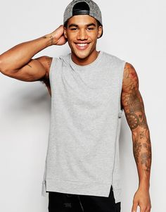 Image 1 of ASOS Longline Sleeveless T-Shirt With Twisted Seams And Stepped Hem