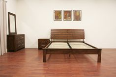 Bedroom Furniture :: Bedroom Sets :: Robbin Brown Queen 4 Piece Modern Bedroom Set - Bachelor Furniture: Bar Furniture, Dorm Furniture, Apartment Furniture