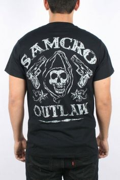 $19.95 Sons of Anarchy - Mens Samcro Outlaw T-Shirt in Black, Size: Small, Color: Black: Clothing