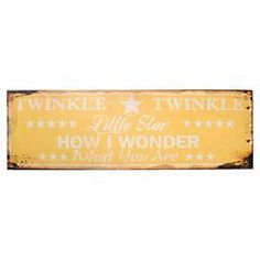 "Twinkle twinkle little bat....    Product: Wall decorConstruction Material: MetalColor: Yellow and whiteFeatures: Distressed finishDimensions: 6"" H x 20"" W"