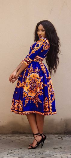the midi VICTORIA dress. V neck African print midi dress with sleeve, fully lined with 2 side pockets and back zip. African Dresses For Women, African Print Dresses, African Attire, African Wear, African Fashion Dresses, African Women, African Prints, African Inspired Fashion, African Print Fashion