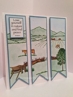 Countryside Card by Laura Williams Men's Cards, Art Cards, Paper Bags, Finding Peace, Teamwork, Countryside, Card Ideas, Scenery, Stamps