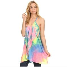 Pastel tie dye ruffle dress Tie dye front mini dress . Perfect for festivals, beach , summer. Layer with cage bra or lace extender/camisole ( listed separate) 95% Polyester , 5% Spandex Fashionomics_pm Dresses Asymmetrical