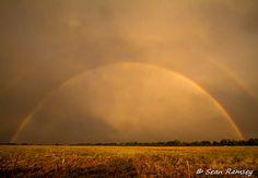 Digital Download, Landscape Photography, Storm Art, Double Rainbow, Warm Colors, Misty, Watercolors, Art Download, Digital, Office Decor