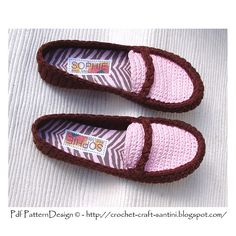 Personalized, handmade insoles! Turn home-Slippers into Street Shoes! Ravelry: PACKAGE for Chocolate & Pink Loafers/Moccasins + CORD-Soles / Sole Treatment pattern by Ingunn Santini