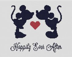 This is a counted cross stitch pattern of Mickey and Minnie Mouse, a true love story. This would make a unique wedding gift, or just to give to the love