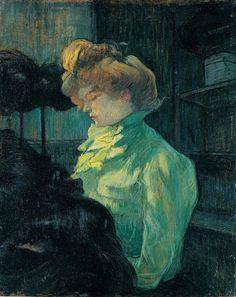 """By Henri de Toulouse-Lautrec, 1900, """"La Modiste. Mademoiselle Louise Blouet d'Enguin"""", Oil on wood, musée Toulouse-Lautrec."""